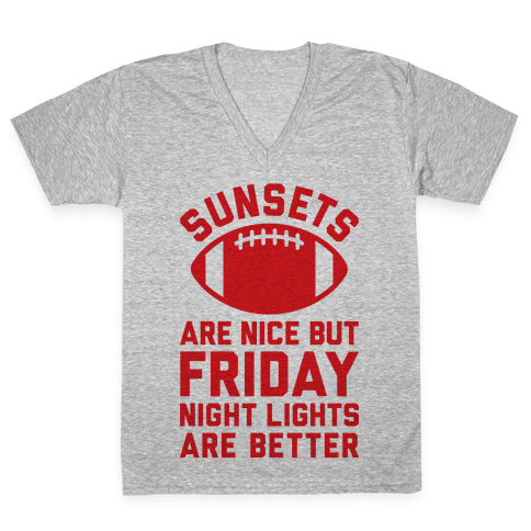 Sunsets And Friday Night Lights V-Neck Tee Shirt