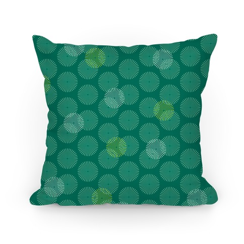 Teal Green Radial Mandalas Pattern Pillow