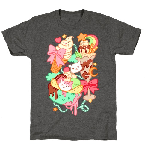 Cute Cat Sundae & Kawaii Ice Cream T-Shirt