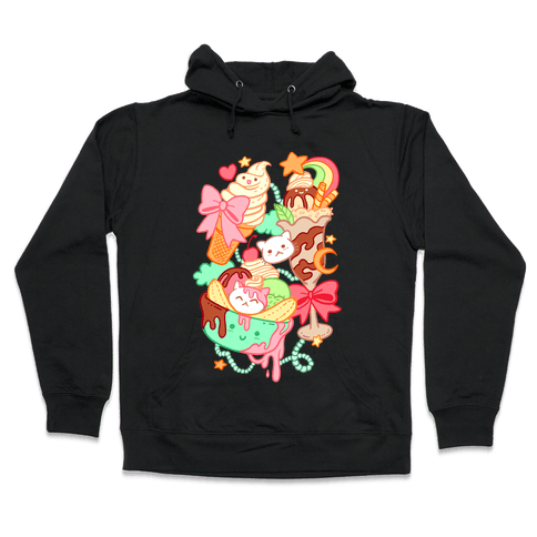 Cute Cat Sundae & Kawaii Ice Cream Hooded Sweatshirt