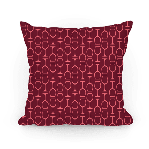 Red and Pink Wine Glasses Pattern Pillow