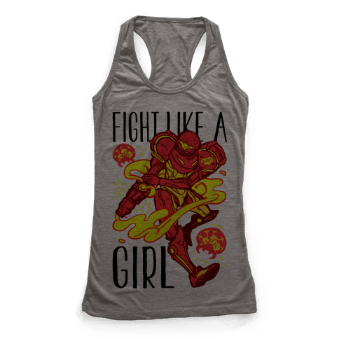 Fight Like A Girl Samus Parody Racerback Tank Top