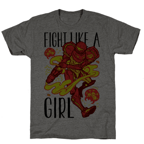 Fight Like A Girl Samus Parody Mens T-Shirt