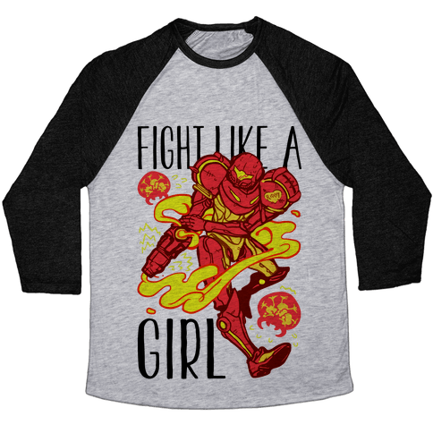 Fight Like A Girl Samus Parody Baseball Tee