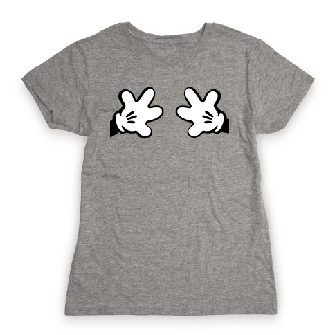 Cartoon Mouse Hands Joke Womens T-Shirt