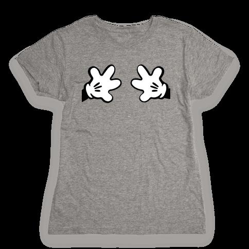 Cartoon Mouse Hands Joke Womens T-Shirt