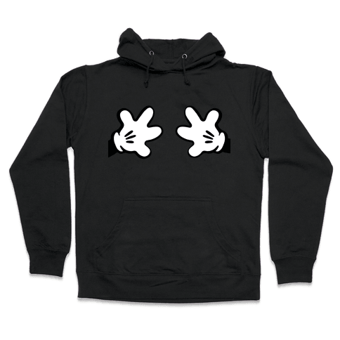 Cartoon Mouse Hands Joke Hooded Sweatshirt