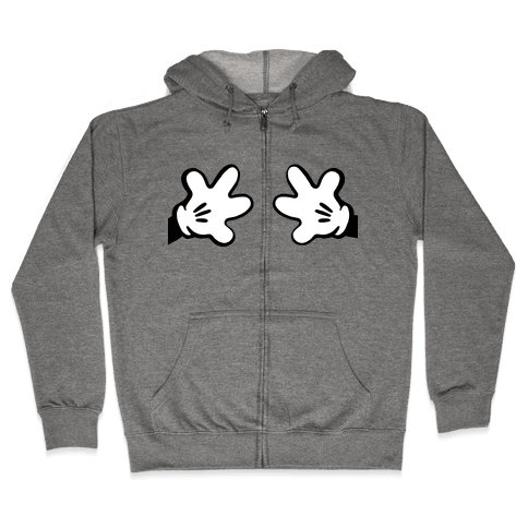 Cartoon Mouse Hands Joke Zip Hoodie