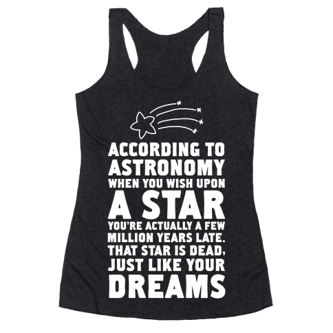 According to Astronomy all Your Dreams are Dead. Racerback Tank Top