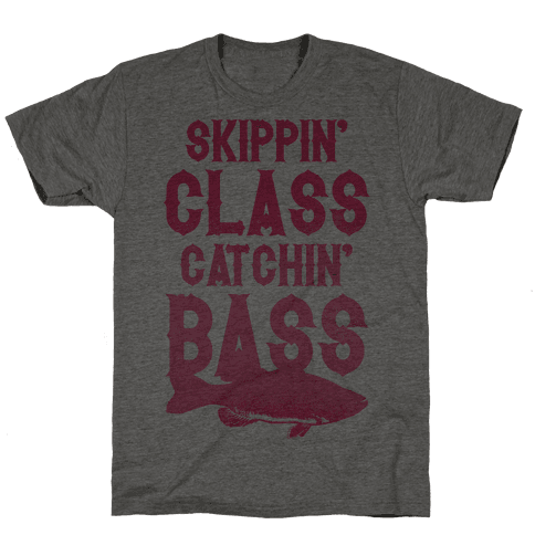 Skippin' Class Catchin' Bass (Pink) Mens T-Shirt