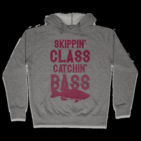 Skippin' Class Catchin' Bass (Pink) Hooded Sweatshirt