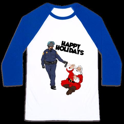 Officer Pike & Santa1 Baseball Tee