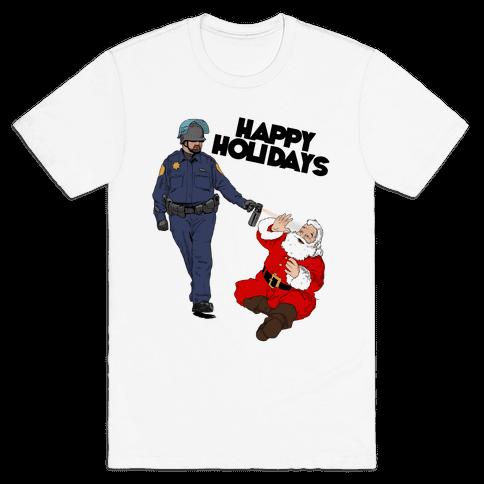 Officer Pike & Santa1 Mens T-Shirt