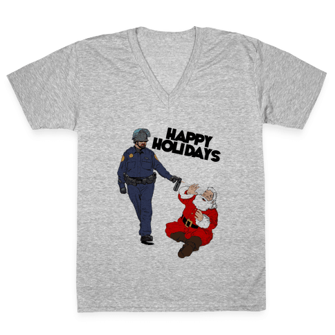 Officer Pike & Santa1 V-Neck Tee Shirt