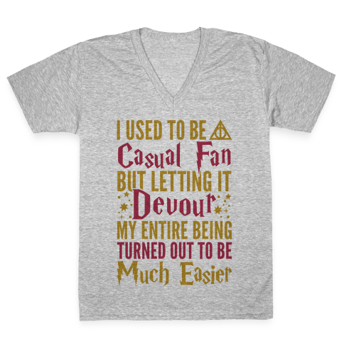 I Used To Be A Casual Fan (Harry Potter) V-Neck Tee Shirt