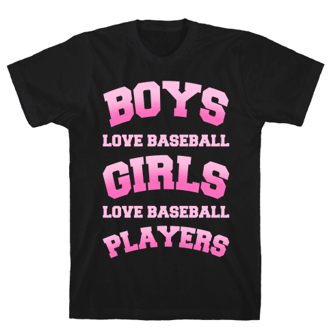 Boys and Girls Love Baseball Mens T-Shirt
