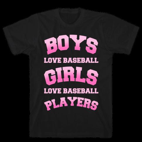 Boys and Girls Love Baseball Mens T-Shirt