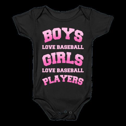 Boys and Girls Love Baseball Baby Onesy