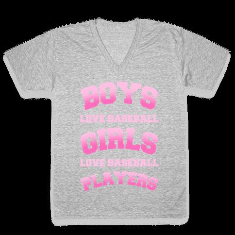 Boys and Girls Love Baseball V-Neck Tee Shirt