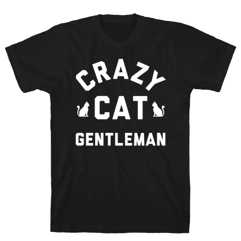 Crazy Cat Gentleman Mens T-Shirt