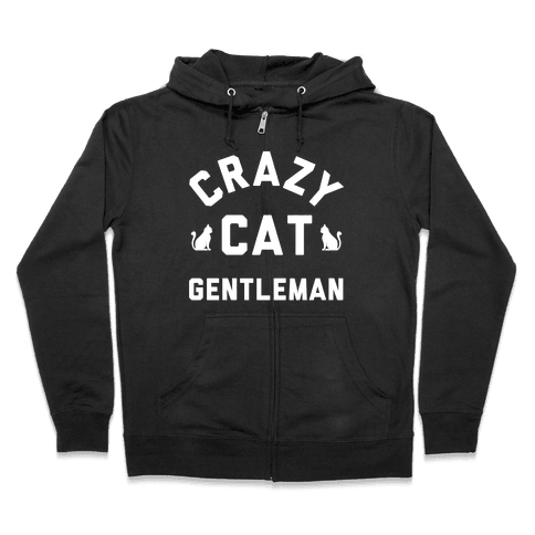 Crazy Cat Gentleman Zip Hoodie