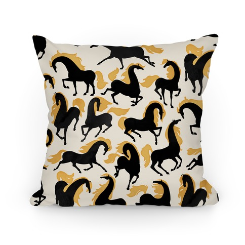 Fiery Wild Horses Pillow