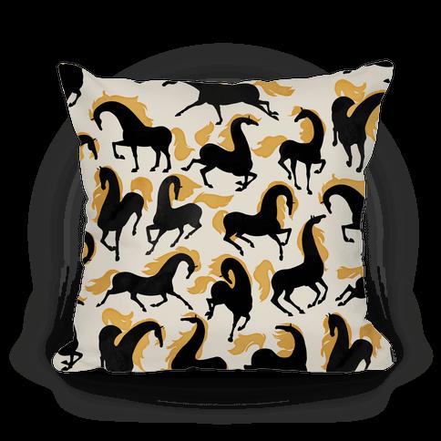 Fiery Wild Horses Pillow