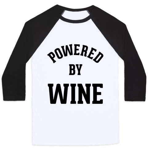 Powered By Wine Baseball Tee