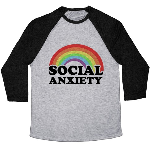 Social Anxiety Rainbow Baseball Tee