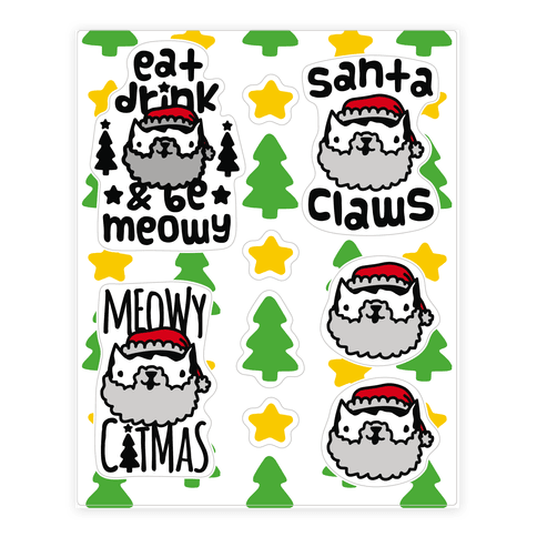 Meowy Catmas Sticker and Decal Sheet