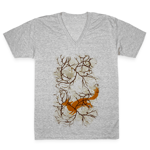 Rabbit And The Fox Chase V-Neck Tee Shirt