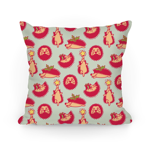Yule Hogs Hedgehog Pattern Pillow