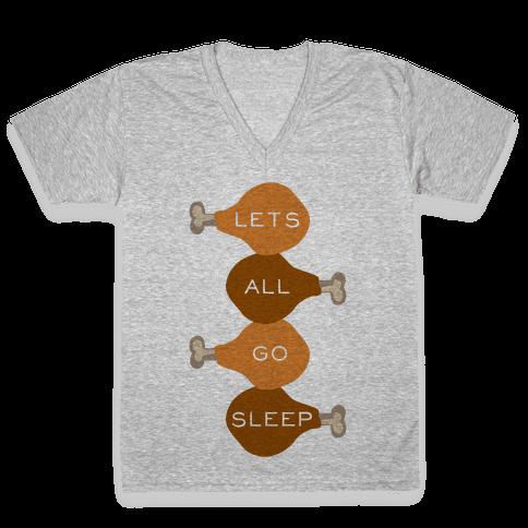 Lets Go Sleep V-Neck Tee Shirt