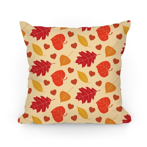 Autumn Leaves and Hearts Pattern Pillow