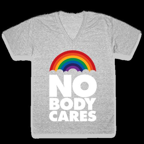 Nobody Cares V-Neck Tee Shirt
