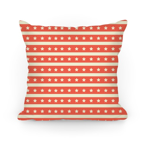Coral Stars and Stripes Pattern Pillow