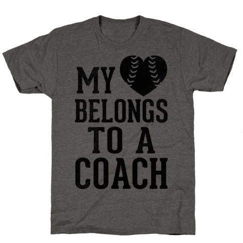 My Heart Belongs To A Coach (Baseball Tee) Mens T-Shirt