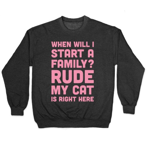 When Will I Start A Family? Rude My Cat Is Right Here Pullover