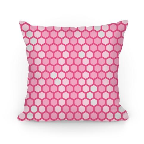 Pink Geometric Honeycomb Pattern Pillow