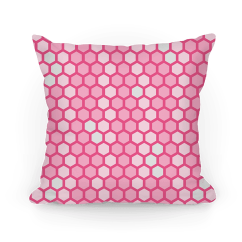 Pink Geometric Honeycomb Pattern Pillow