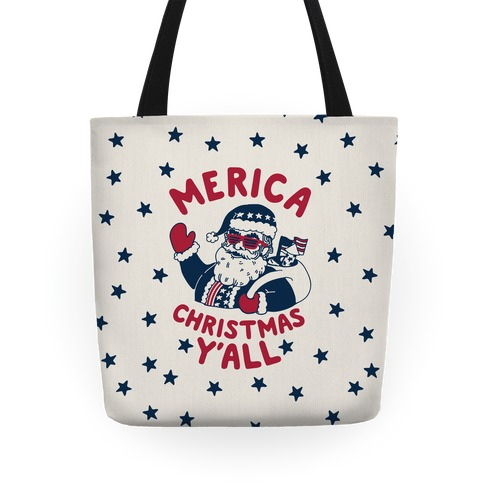 Merica Christmas Y'all Tote