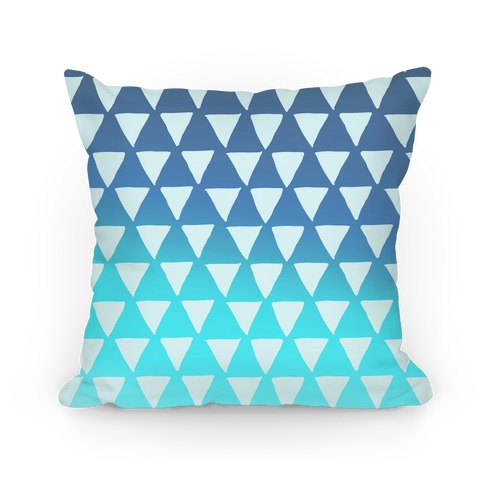 Triangle Blue Ombre Pattern Pillow
