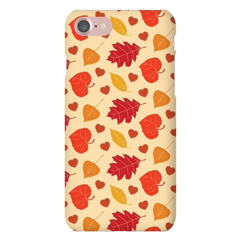 Autumn Leaves and Hearts Pattern Phone Case