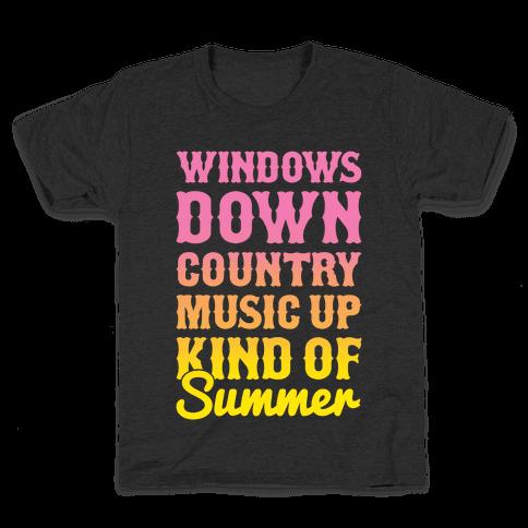 Windows Down Country Music Up Kids T-Shirt