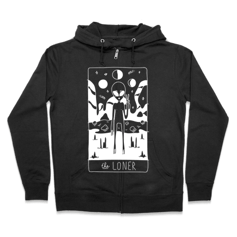 The Loner Tarot Card Zip Hoodie