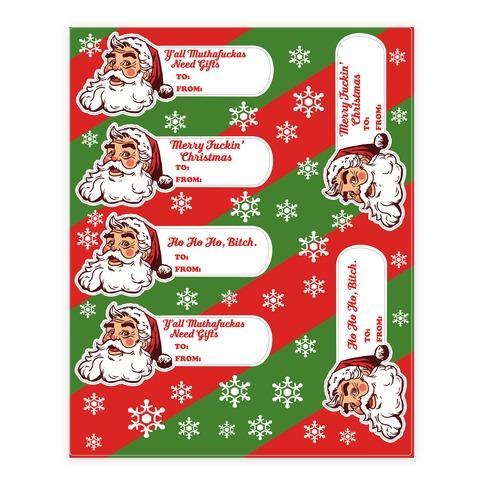 Rude Santa Gift Tag Sticker/Decal Sheet