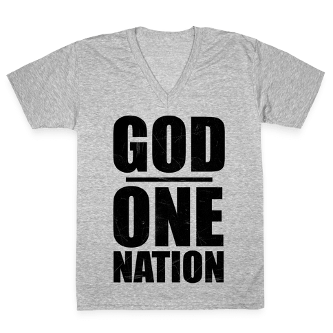 One Nation Under God V-Neck Tee Shirt