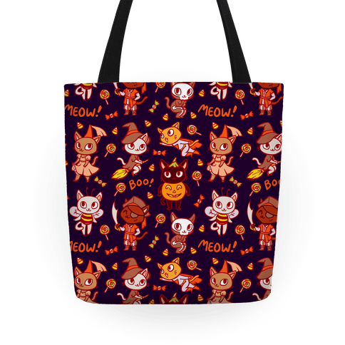 Spooky Cute Cats in Halloween Costumes Tote