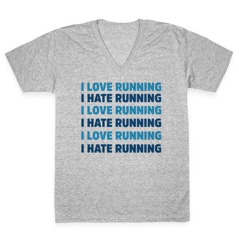 I Love Running I Hate Running V-Neck Tee Shirt