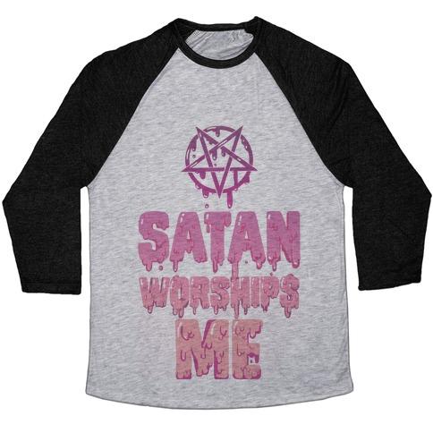 Satan Worships Me Baseball Tee